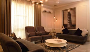 Living room- Apartment on Golf course extension road, Gurugram: modern Living room by The Workroom