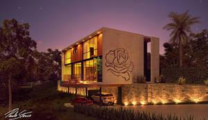 Fachada Principal: Casas do campo e fazendas  por Paulo Stocco Arquiteto
