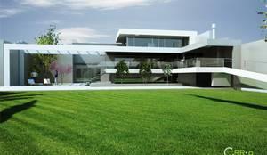 Patio Exterior , el patio mayor , imagen desde el patio: Casas unifamiliares de estilo  por Rr+a  bureau de arquitectos