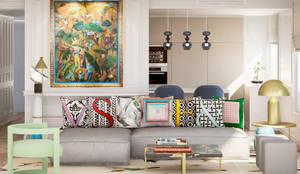 Pequeno, grande apartamento Estoril: Salas de estar  por Inêz Fino Interiors, LDA