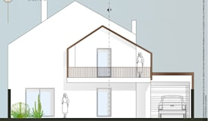 Fachada Principal: Casas unifamilares  por Teresa Ledo, arquiteta