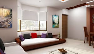 BEDROOM  and LIVING ROOM INTERIORS :  Living room by Monoceros Interarch Solutions