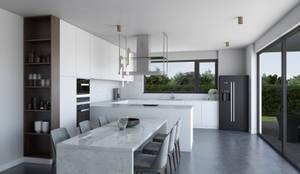 Dündar Design - Mimari Görselleştirme – Açık Mutfak ve Salon:  tarz Mutfak