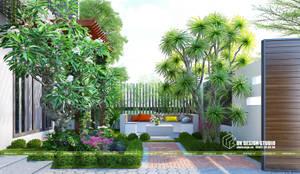 Thiết kế sân vườn:  Sân trước by UK DESIGN STUDIO - KIẾN TRÚC UK