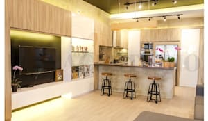 Ruang Keluarga & Dapur:  Ruang Keluarga by Inspace Studio