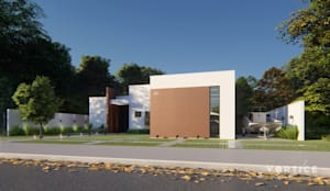 Fachada Reservada e espaçosa : Condomínios  por Vortice Arquitetura