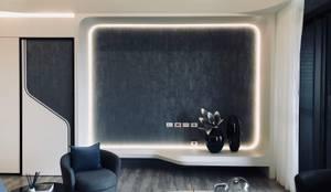 電視牆下不使用櫃體讓空間更加流暢:  客廳 by On Designlab.ltd,