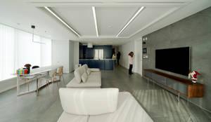 차분한 그레이 인테리어: 디자인 아버의  거실