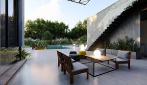 VIVIENDA UNIFAMILIAR Lomas de City Bell #251: Terrazas de estilo  por Arq Olivares