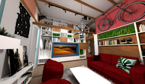 Sala: Casas pequeñas de estilo  por Rodrigo León Palma