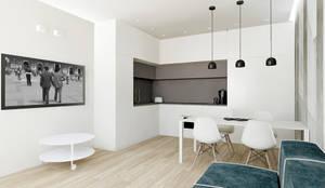 Ristrutturazione piccolo appartamento 50 mq: Soggiorno in stile  di Flavia Benigni Architetto