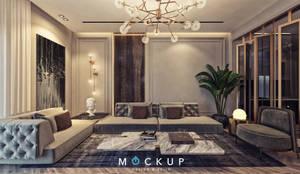 East town - Sodic:  غرفة المعيشة تنفيذ  Mockup studio