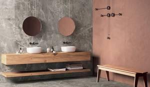 Efeitos: pedra natural X oxy corten: Casas de banho  por ONART