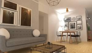 Combinacion de Escandinavo con Industrial: Livings de estilo  por Arquimundo 3g - Diseño de Interiores - Ciudad de Buenos Aires