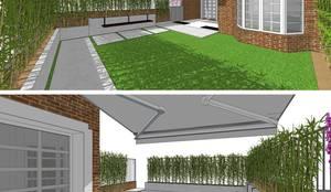 | DISEÑO DE JARDÍN | VeRsIóN 5 - vivienda: Jardines con piedras de estilo  de RR Estudio Interiorismo en Madrid,