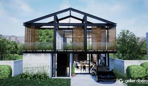 Fachada Casa em Estrutura Metálica: Condomínios  por Gelker Ribeiro Arquitetura | Arquiteto Rio de Janeiro