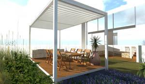 Pérgola minimal en Jardin : Jardines zen de estilo  por Designo Arquitectos