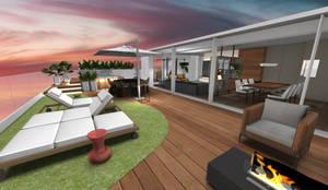 Vista geral do terraço e jacuzzi ao fundo: Varandas  por Form Arquitetura e Design
