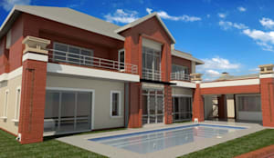 render of swimming pool area:  Houses by Nuclei Lifestyle Design, Modern
