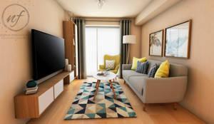 PROYECTO EXCELLENCE : Salas / recibidores de estilo  por NF Diseño de Interiores , Escandinavo