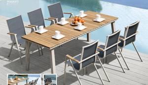 Mesa e cadeiras para outdoor : Jardins de fachada  por CRISTINA AFONSO, Design de Interiores, uNIP. Lda
