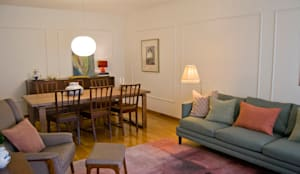 Sala de jantar com cadeiras vintage: Salas de estar  por Tangerinas e Pêssegos - Design de Interiores & Decoração no Porto
