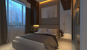 2bhk Residence with a Pragmatic Taste, Mumbai:  Bedroom by Sagar Shah Architects