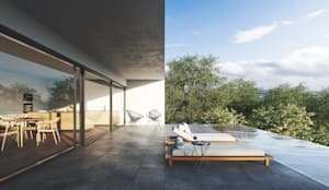 Terraço e piscina infinita exterior: Terraços  por FMO ARCHITECTURE,