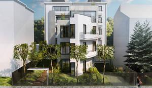 Budynek Mieszkalny wizualizacja od przodu: styl , w kategorii Domy zaprojektowany przez Zbigniew Tomaszczyk  Decorum Architekci Sp z o.o.