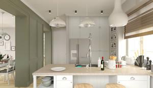Светлая гостиная со столовой и кухня: Кухни в . Автор – BAUART INTERIOR DESIGN