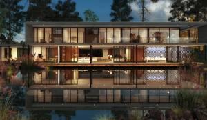 Casa do Lago: Casas de campo  por Viviane Cunha Arquitectura,