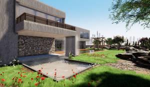 Vista exterior Fachada y detalle en piedra: Casas de estilo  por CR.3D Modeling & Rendering,