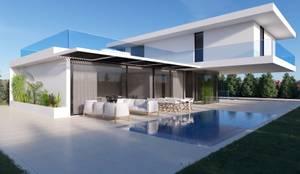 Vista sobre a piscina - Dia: Piscinas  por Nuno Ladeiro, Arquitetura e Design