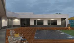 alçado tardoz - relação com o espaço comum exterior (jardim e piscina): Piscinas  por Limit Studio
