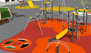 DISEÑO PISO DE CAUCHO IN SITU: Pisos de estilo  por Assembling Center Games