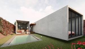 A´rea social de piscina y terraza: Terrazas de estilo  por DOGMA Architecture