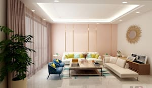 Living +dining area:  Living room by Matter Of Space Pvt. Ltd.,