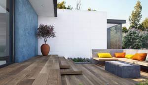 Exterior con piso de madera cerámica: Terrazas de estilo  por Interceramic MX