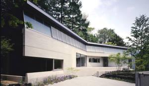 中軽井沢ヴィラ 原生林にいだかれた暖炉のある平屋の住まい: JWA,Jun Watanabe & Associatesが手掛けた家です。