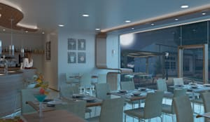 mobiliario interior 3D: Bares y Clubs de estilo  de VURPURA INSTALACIONES COMERCIALES,