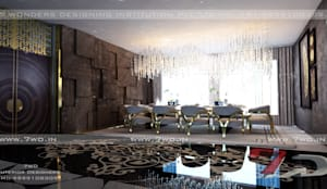 Gold Luxe Interior:  Dining room by 7WD Interior Design Studio,
