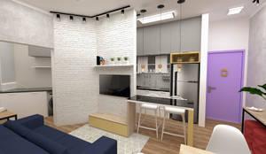 Implantação de Apartamento Residencial 55m2 -1: Cozinhas  por Fareed Arquitetos Associados,Eclético