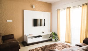 TV unit and Living room furniture setup:  Living room by Dream Touch