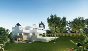 Fachada y jardín: Casas unifamilares de estilo  de Otto Medem Arquitecto vanguardista en Madrid, Moderno
