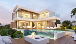 CASA C&J - Moradia em Cascais - Projeto de Arquitetura - exterior piscina lareira: Piscinas infinitas  por Traçado Regulador. Lda