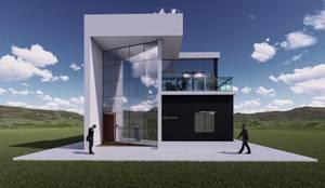 Fachada principal: Casas de campo de estilo  por Arq. Bruno Agüero, Moderno Concreto