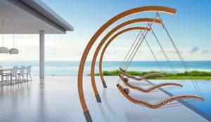Aufhängebogen mit Schwebeliege auf Terrasse am Meer :  Gartenpool von faktor holz,