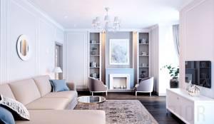 Дизайн-проект  2 - комнатной квартиры в Ялте.: Гостиная в . Автор – Дизайн студия 'Хороший интерьер',