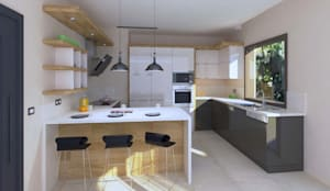 KALYA İÇ MİMARLIK – Villa Projesi - Mutfak Alanı:  tarz Ankastre mutfaklar, Modern Ahşap Ahşap rengi
