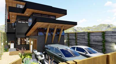 Ultramodern split-level home overlooking mountains in East of Manila